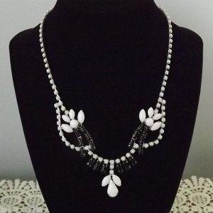 Milk Glass/Rhinestone Necklace & Screwback Earring